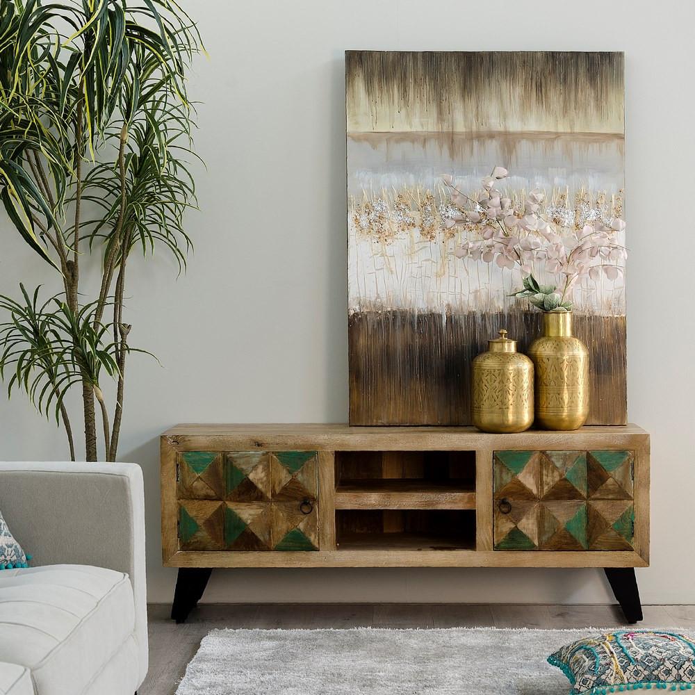 mueble tv policrom a madera de mango 40 x 150 x 50 cm ref. Black Bedroom Furniture Sets. Home Design Ideas